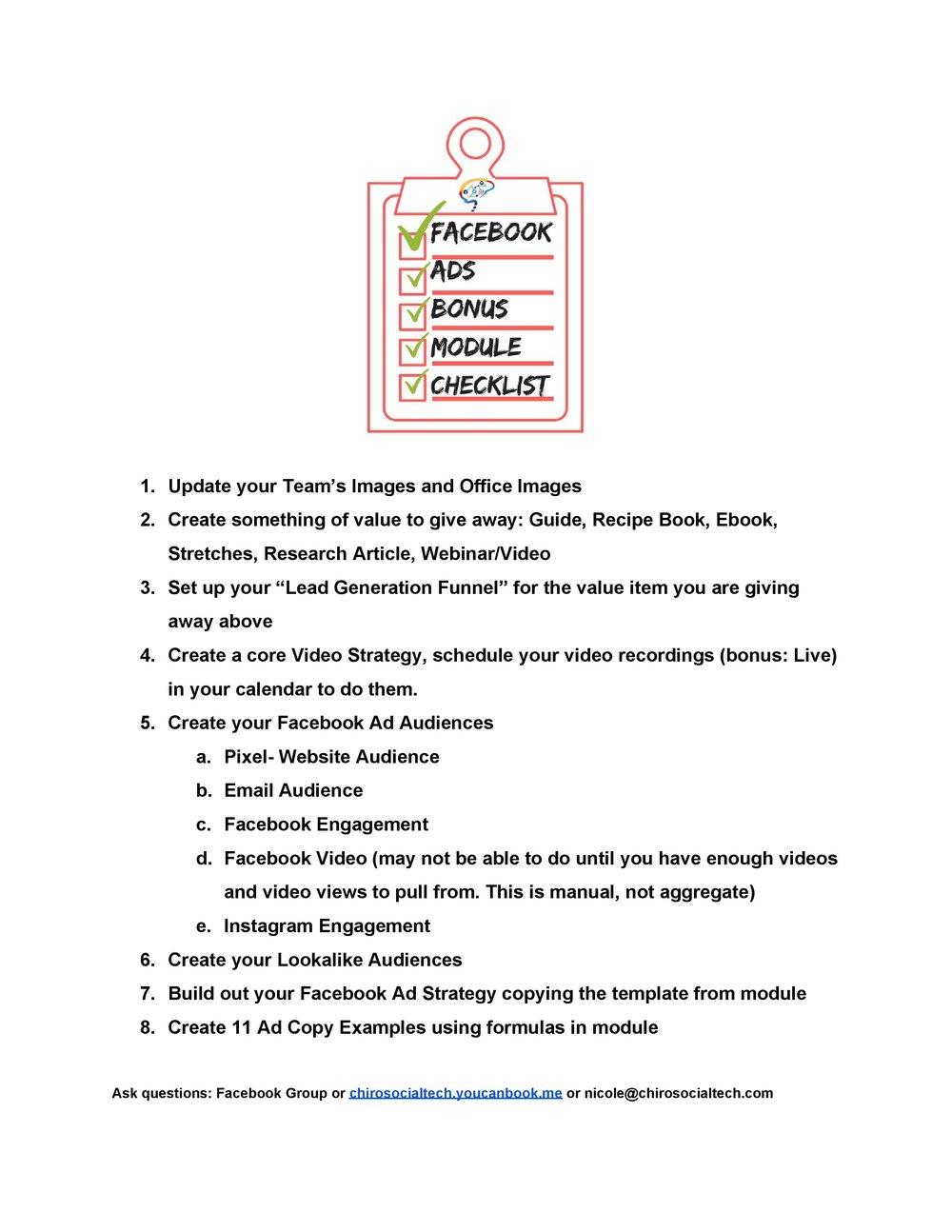 facebook ads bonus module checklist
