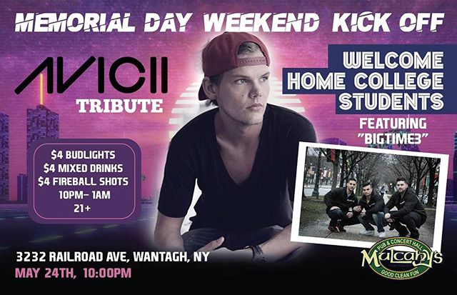 Super excited to be hosting the @avicii tribute show with @xt0roofficial next Thursday night May 24th to kick off #memorialdayweekend at @mulcahyspub in #Wantagh ! Drink specials all night as we welcome home college students! Y'all ready to party? #mdw2018 #mdw #mulcahys #mulcahyspub #HonoringALegend #avicii