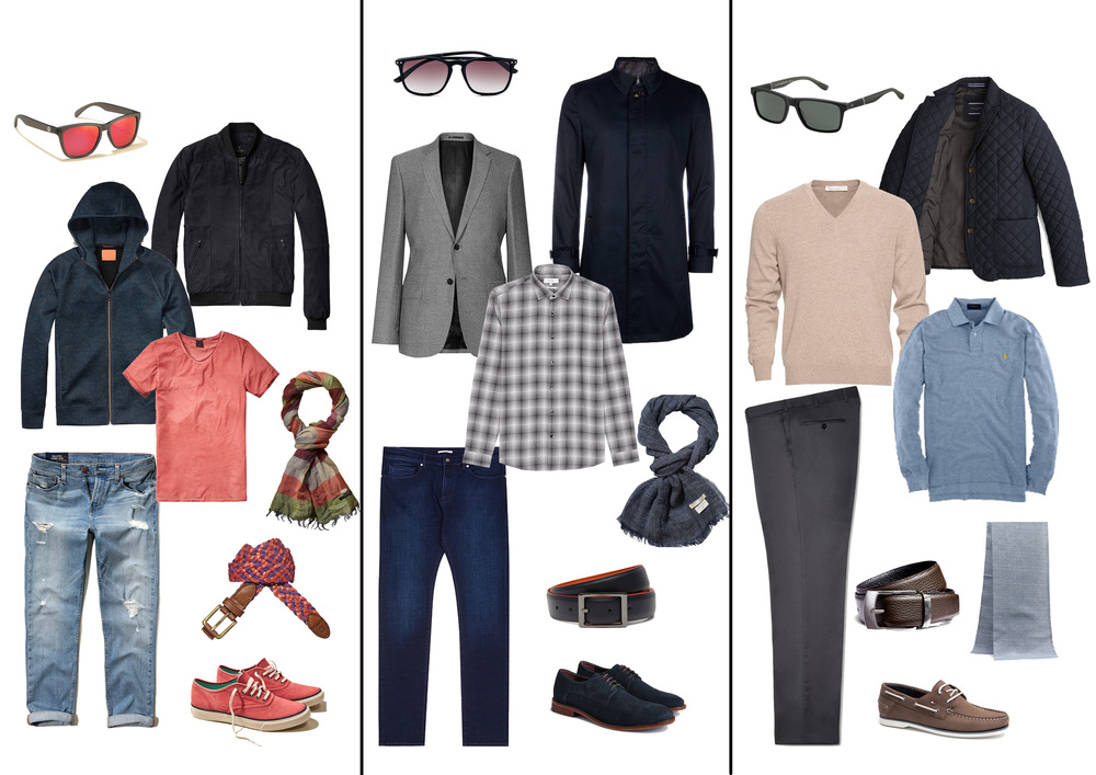 3 casual look proposals for 20s, 40s and 60s men