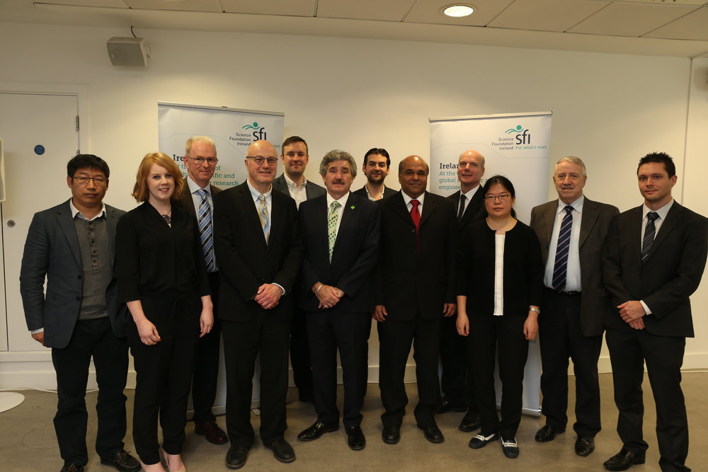 From Left to Right: Jiafu Wang, Susan Kelleher, Professor Greg Hughes, Director General of Science Foundation Ireland and Chief Scientific Adviser to the Government of Ireland, Professor Mark Ferguson, Andrew Kellett, Minister of State for Training, Skills and Innovation, John Halligan TD, James Walsh, Prince Anandarajah, Robert Forster, Jianghui Meng, Professor Oliver Dolly, Kevin McGuiness