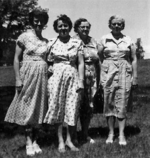 1955 Officers; VP Bertha Mathsen, Treasure, President Orma Gulbranson, Emelie Olson, Secretary Clara Olson