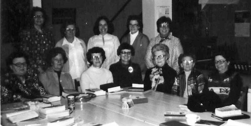1970s - Kongsvinger Lutheran Church Women  First Row: Emilie Olson, Aileen Solem, Bertha Mathsen, Medora Nelson, Hazel Nelson, Hilda Egge, Gladys Hanson,Back Row: ???, Ida Hendrickson, Margaret Nelson, Alda Shane, Ila Lind