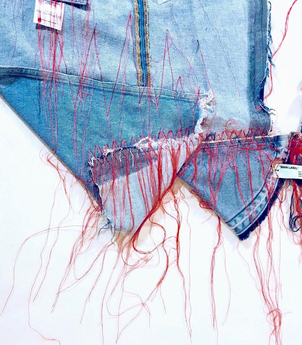 Copy of Copy of Off-White c/o Virgil Abloh asymmetrical denim skirt (r)assemblage by Anaïs de Contades