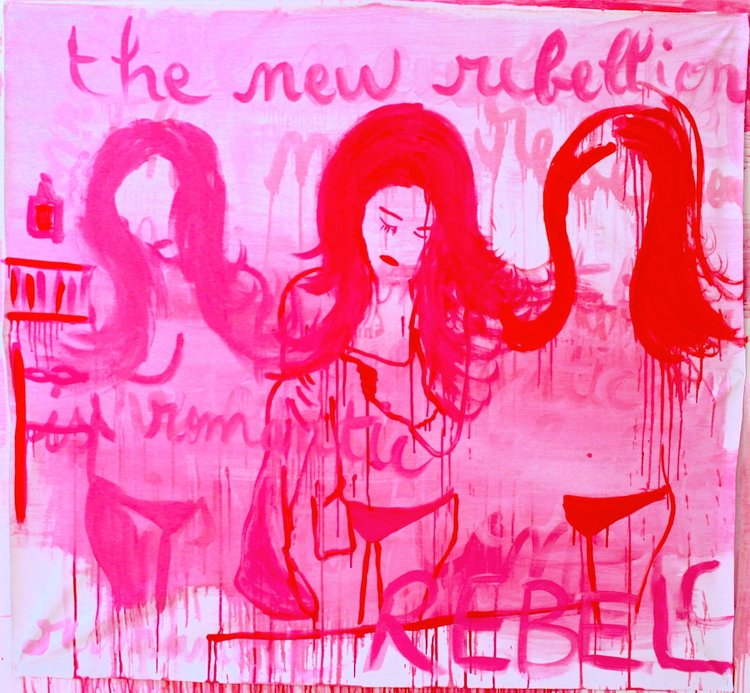 Anais de Contades - The New Rebellion Is Romantic - Painting on canvas worn for Frieze NY.jpeg