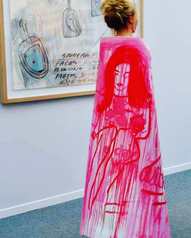 Anais de Contades wearing her painted canvas at Art Paris Art Fair .jpg