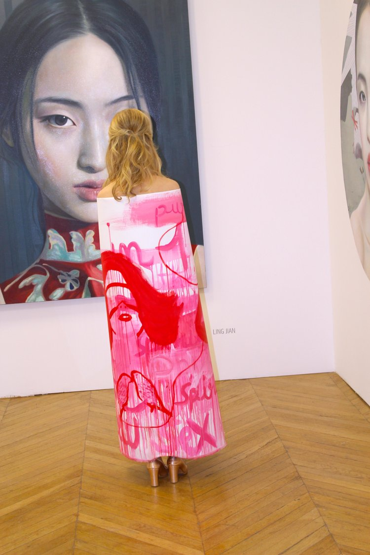 Anais de Contades at Asia Now Art Fair  wearing her painted canvas - Performance Art suported by The Art Gorgeous.jpeg