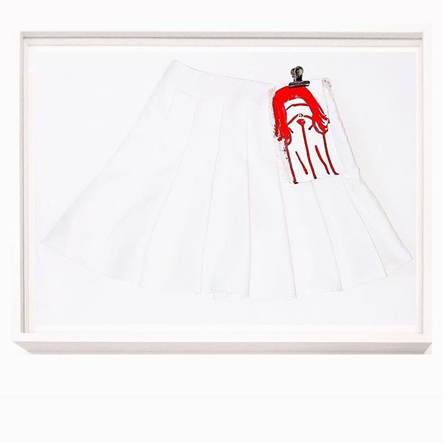 """ART IS THE NEW MODE (((DE VIE)))"" ™️ New work entitled ""Purerotic Uniform White"" —  Skirt-Painting Assemblage © © © — Materials: White pleated skirt, painted canvas, metal board clip 🌸🍭 🌸 🍭 🌸 🍭 🌸 🍭 #anaisdelys #FleurSucette #RomanticRebellion  #Contemporaryart #Contemporaryartcollector #newyorkmagazine #idmagazine #Tate #moma #Guggenheim #artnet #artsy  #Whitecube #Gagosian #perrotin #chateaulacoste #contemporaryartthatyoucantwear #elleuk #elleusa #vogue #britishvogue #vogueuk #wmagazine #harpersbazaar #vanityfair #voguejapan  #howtospendit #dazedandconfused #anothermagazine #alminerechgallery"