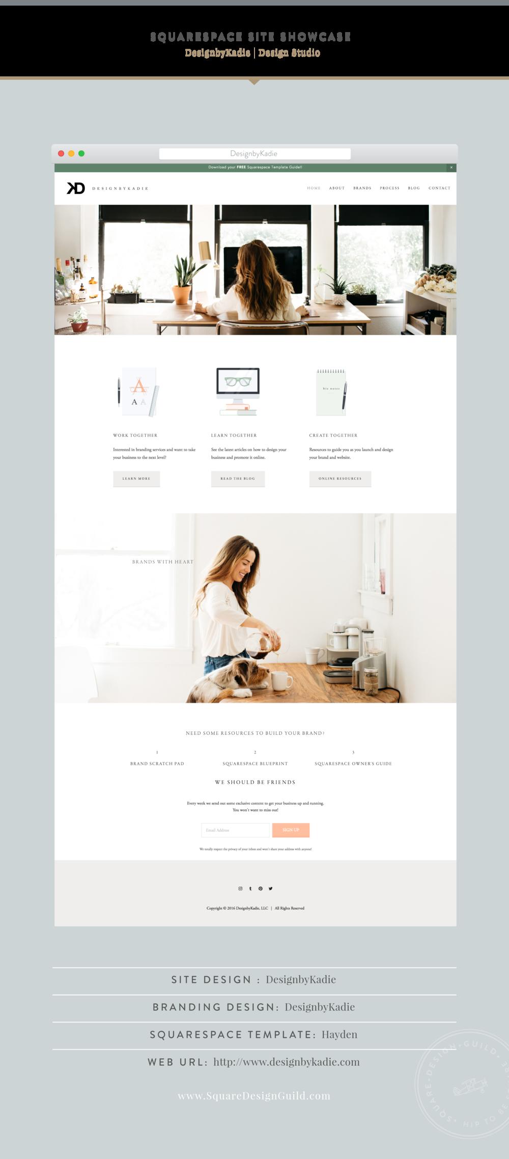 Squarespace Design Guild | Site Showcase - DesignbyKadie Boutique Graphic Design Studio in Dallas TX