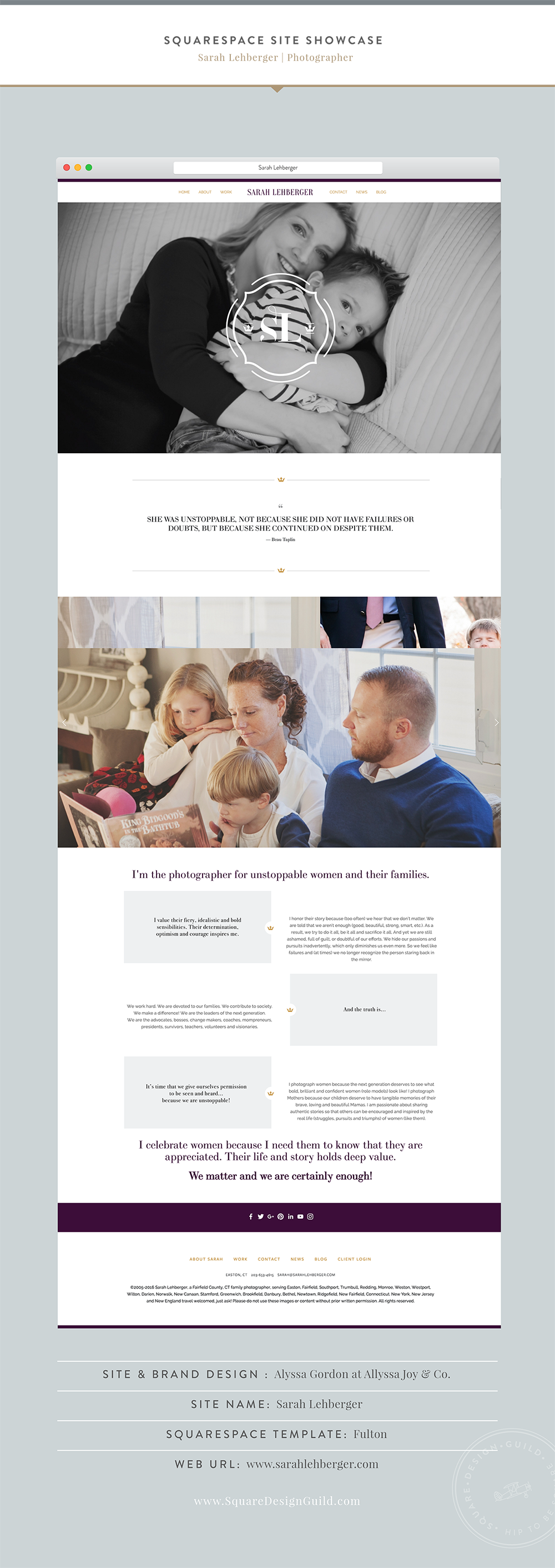 Squarespace Design Guild | Site Showcase | Alyssa Joy & Co - Sarah Lehberger Site Fulton Template