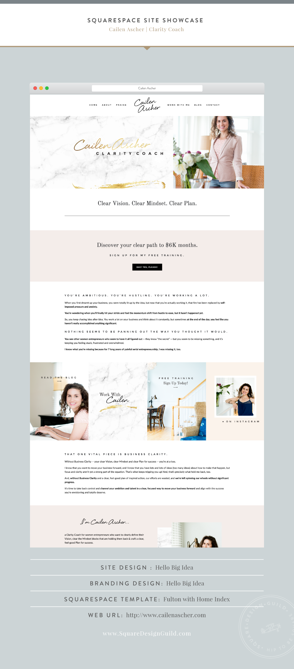 Squarespace Design Guild | Site Showcase | Cailen Ascher by Hello Big Idea Fulton Template for Squarespace
