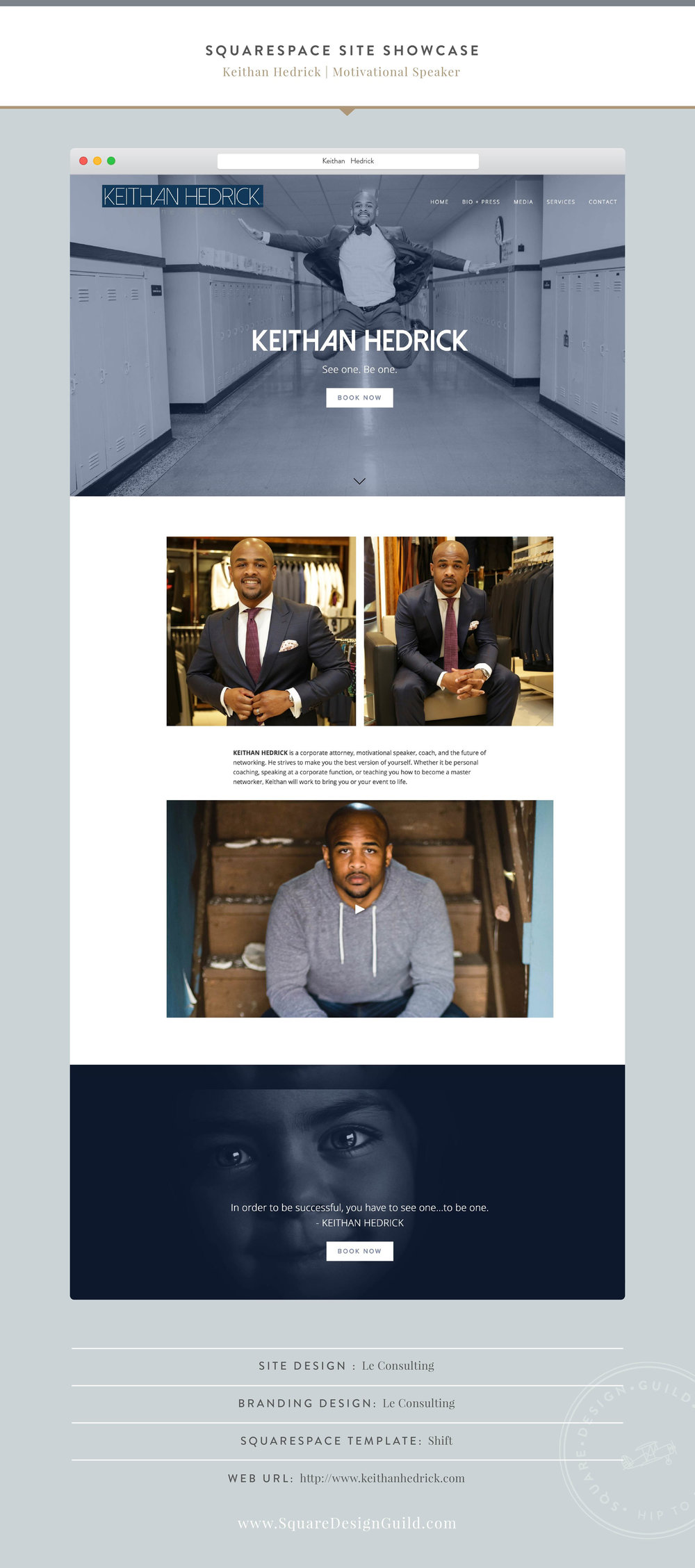 Squarespace Design Guild | Site Showcase | Keithan Hedrick by LeConsulting using Shift Template