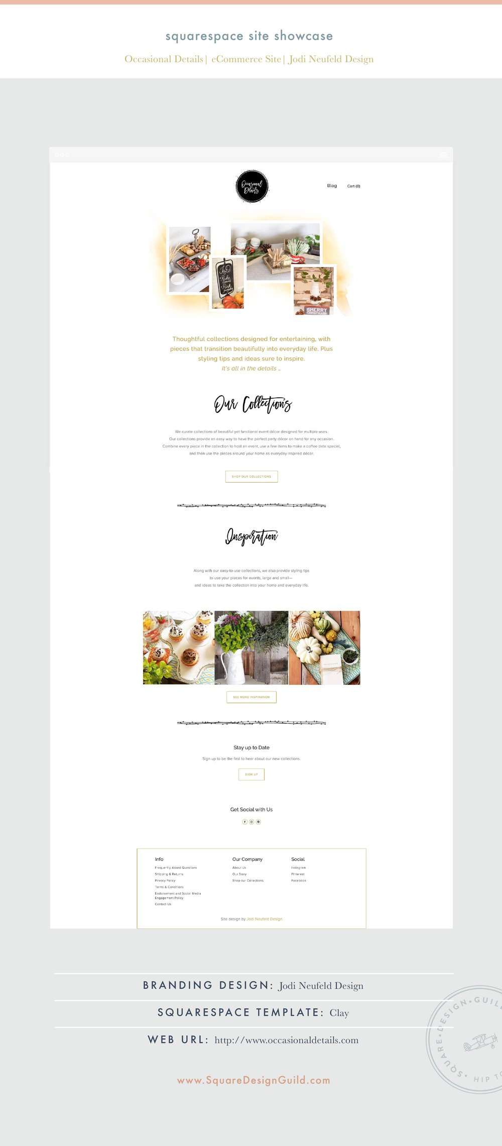 Square Design Guild | Squarespace Site Showcase | Occasional Details by Jodi Neufeld Design on Clay Template