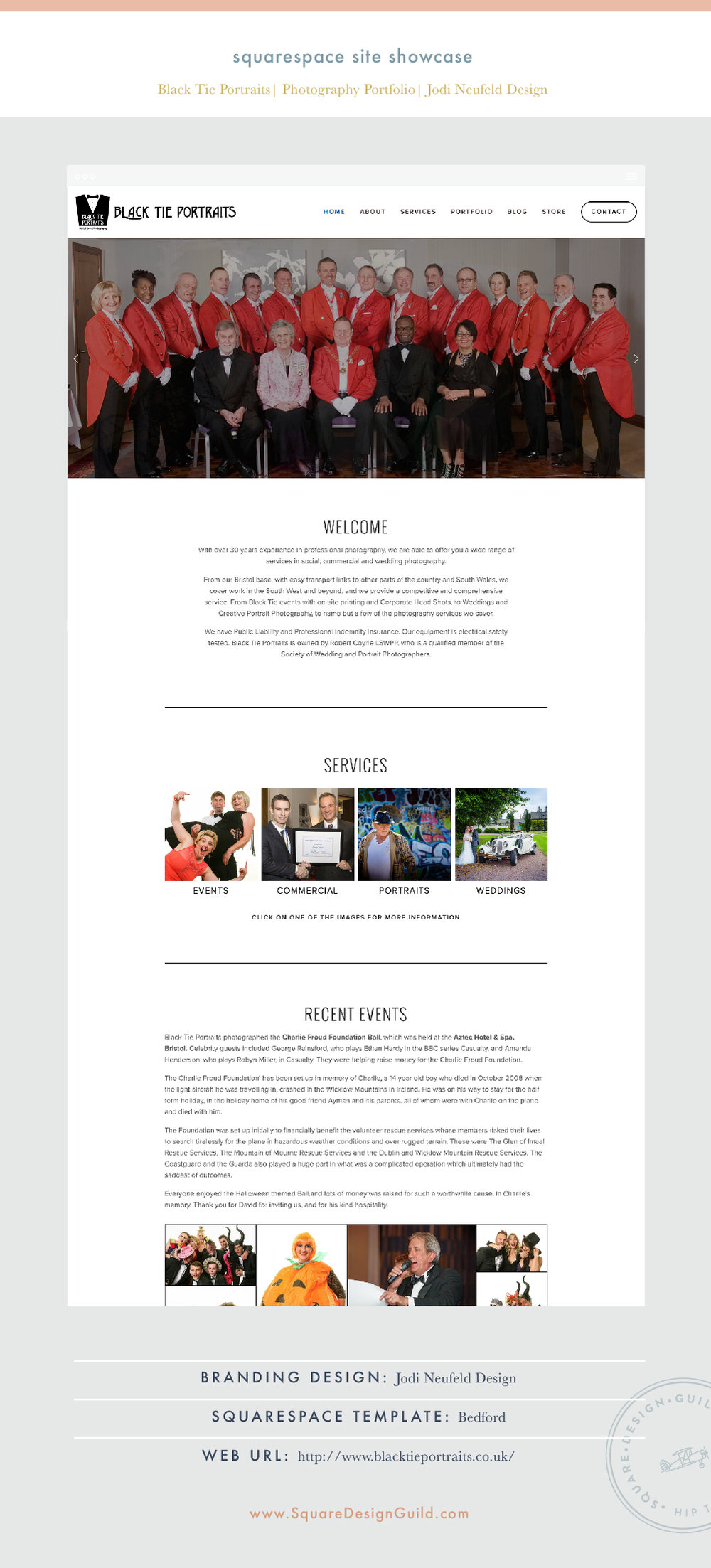 Square Design Guild | Squarespace Site Showcase | Black Tie Portraits by Jodi Neufeld | Bedford Template