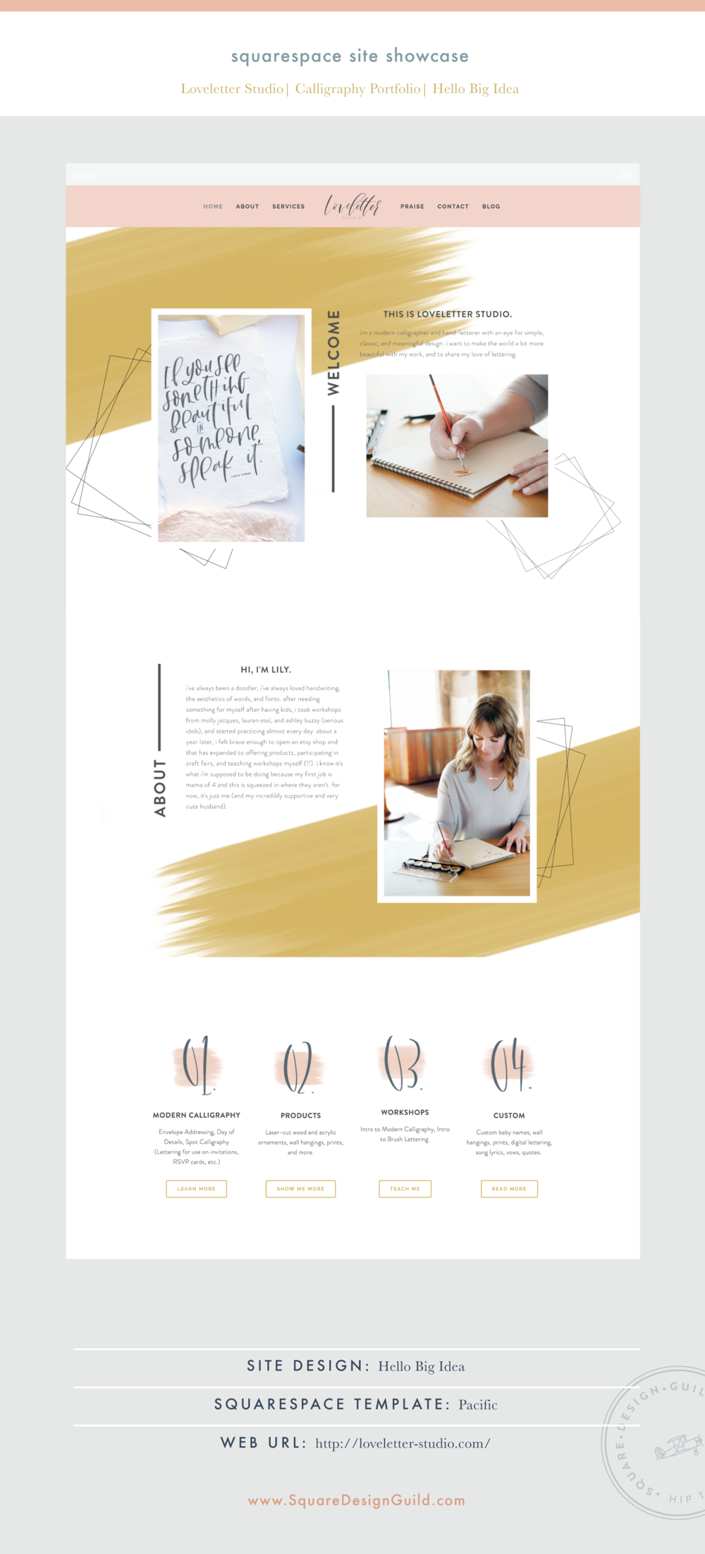Square Design Guild | Squarespace Site Showcase | Loveletter Studio by Hello Big Idea on the Pacific Template