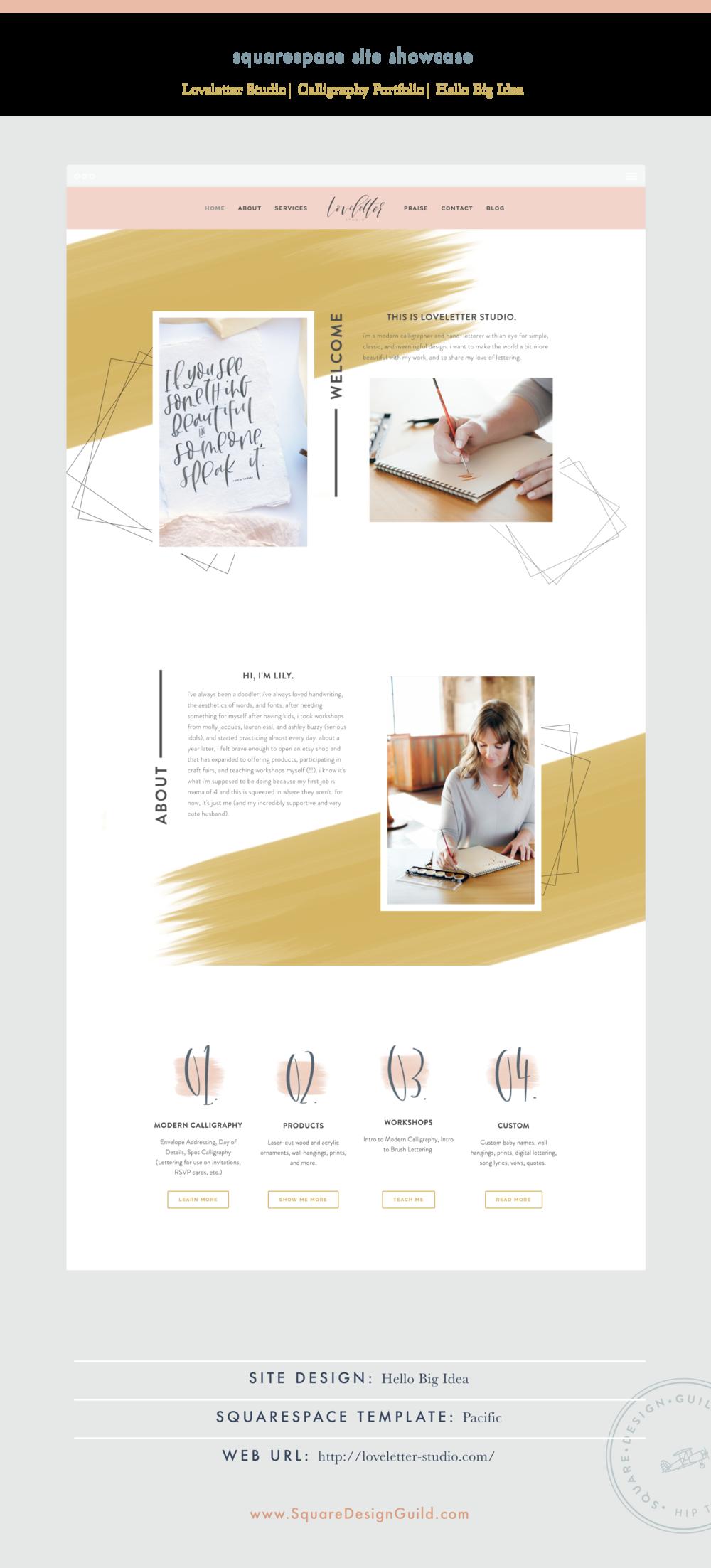 Square Design Guild | Squarespace Site Showcase | Loveletter Studio by Hello Big Idea on the Pacific Template