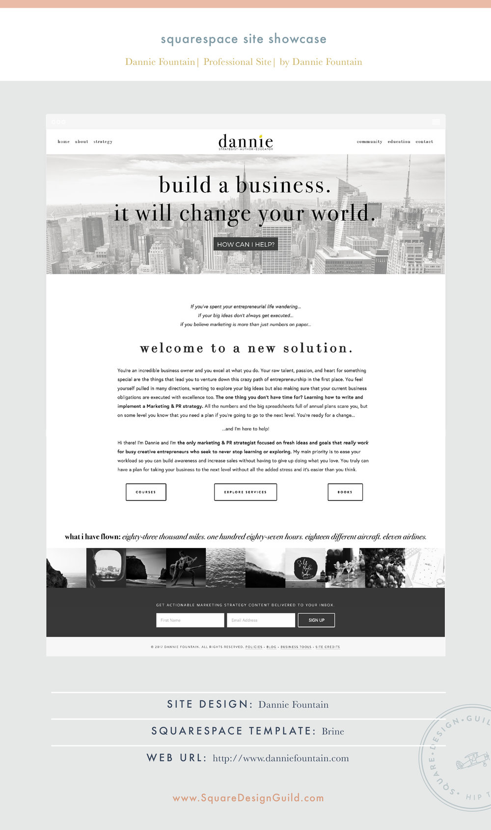 Square Design Guild | Squarespace Site Showcase | Dannie Fountain on the Brine Template