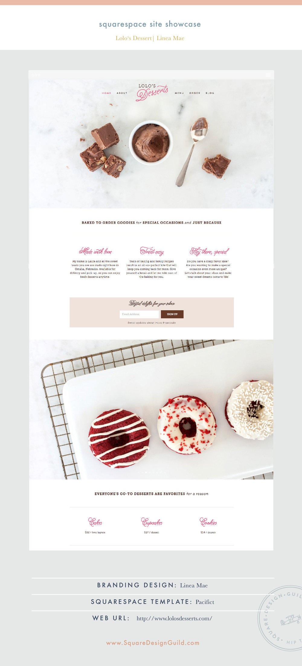 Square Design Guild | Site Showcase | Lolo's Desserts by Linea Mae | Pacific Template