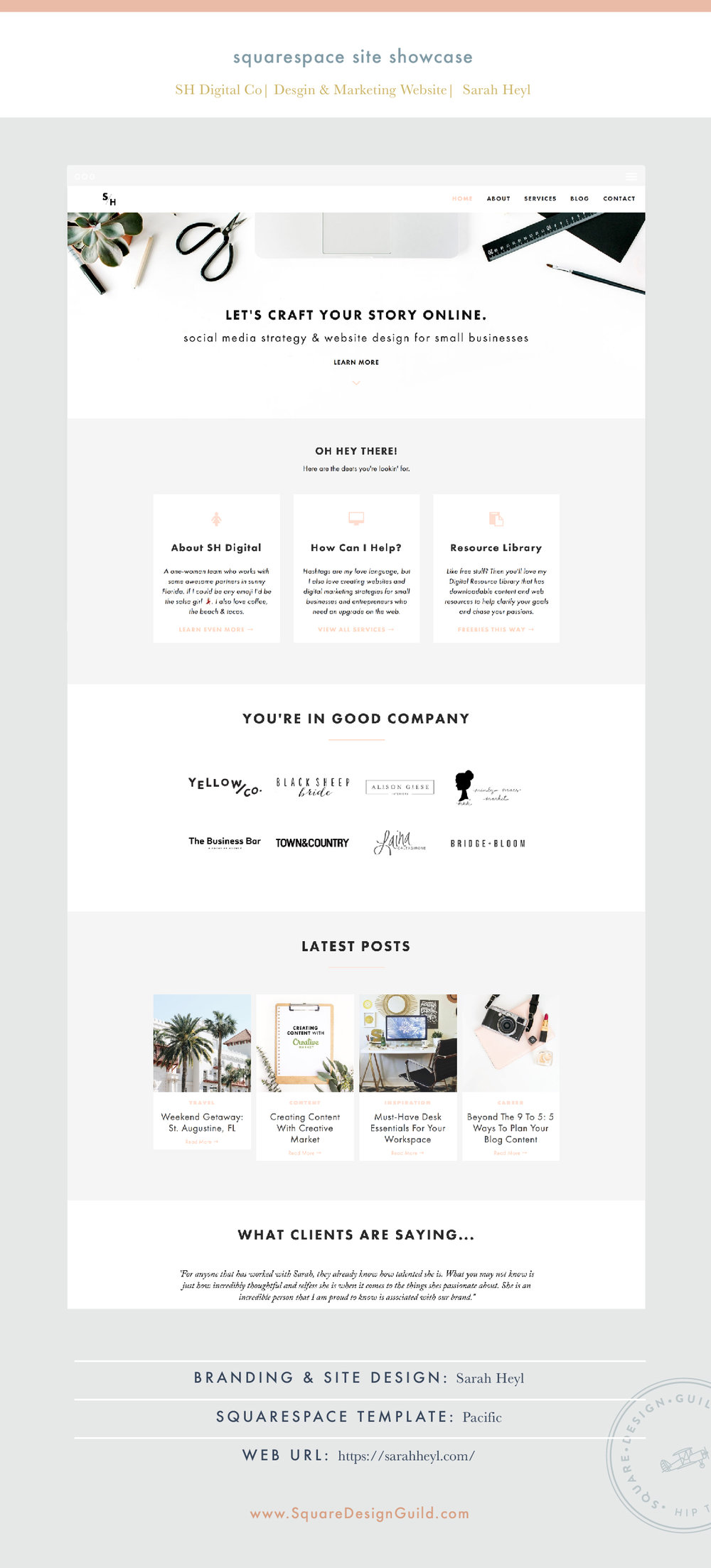 Square Design Guild | Site Showcase | SH Digital Co by Sarah Heyl | Pacific Template
