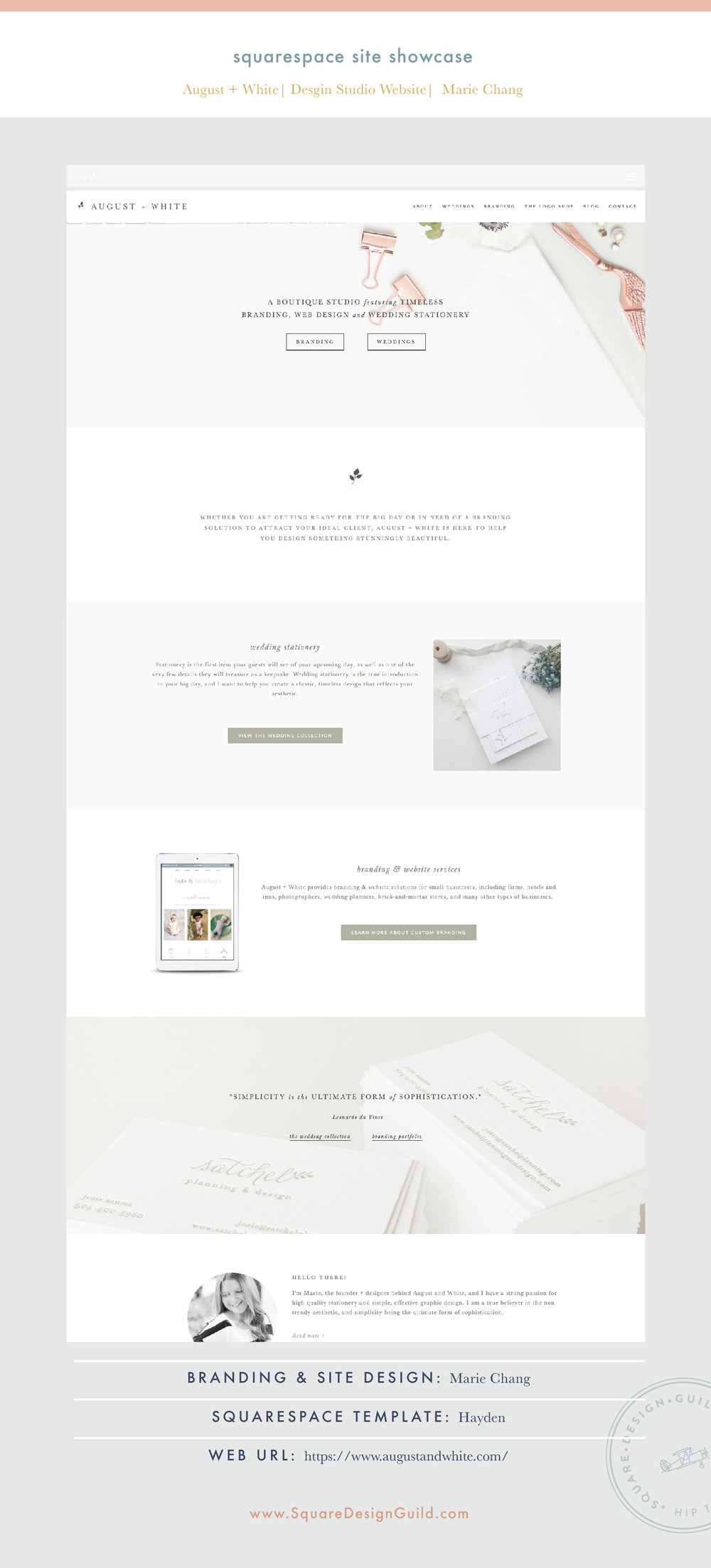 Square Design Guild | August and White Design Studio | Squarespace Site on Hayden Template