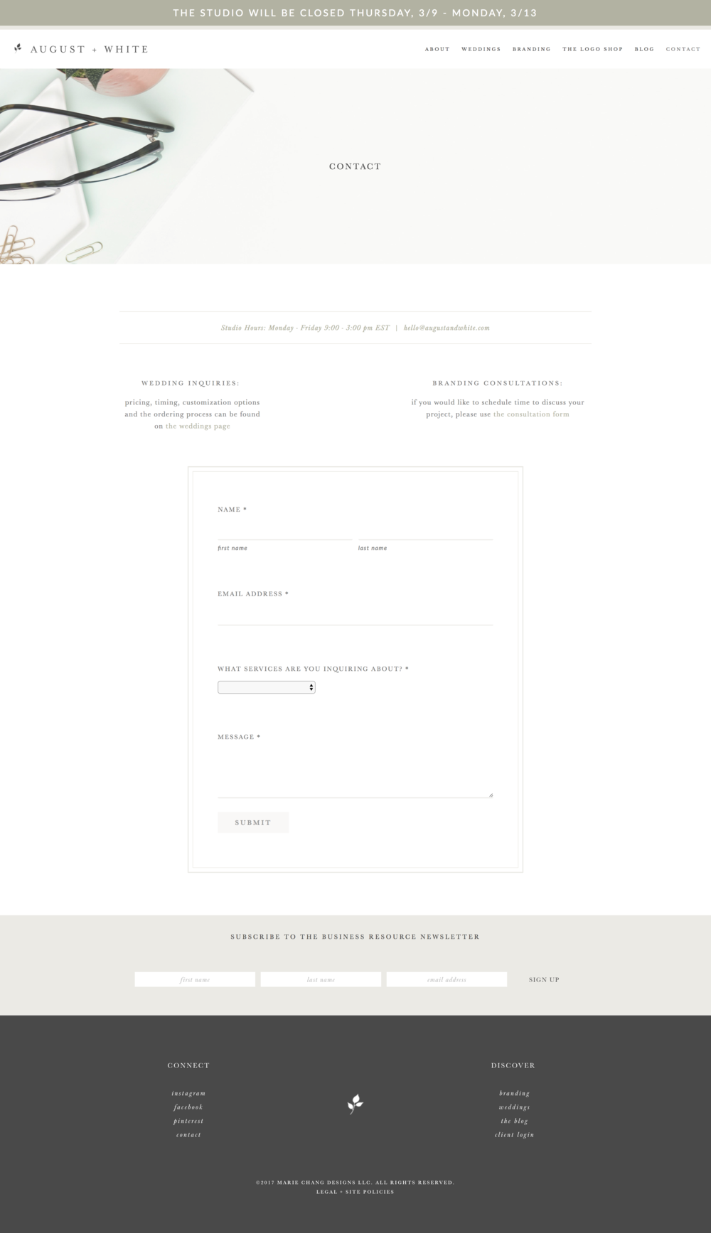 we are loving marie's contact form- to d.i.e. for!