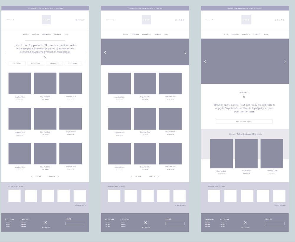 Squarespace AI Ilustrator Templates for Client Presentations of the Brine Template