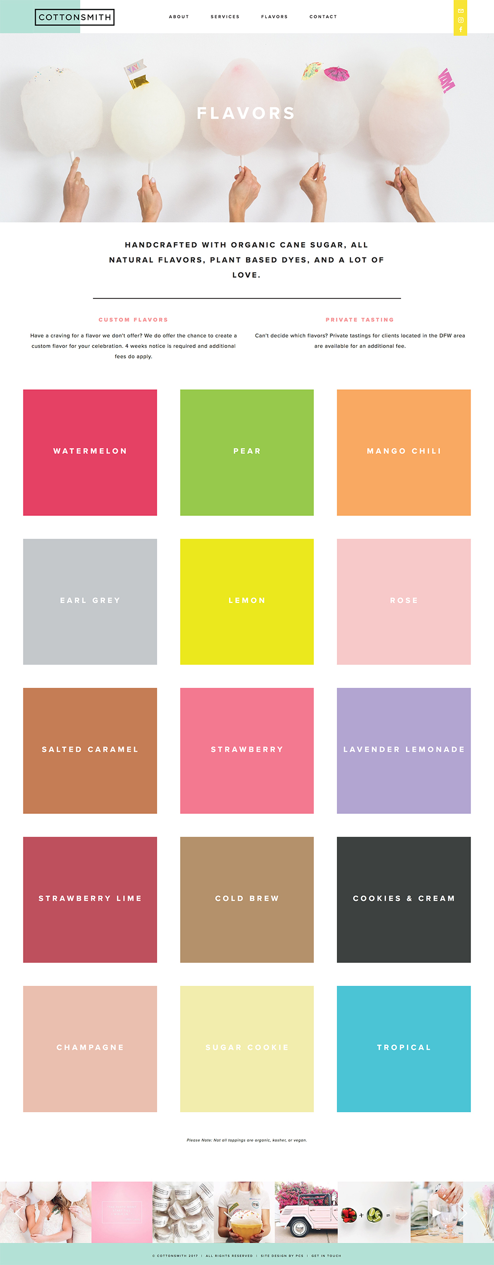 We are obsessed with the use of colour blocks on the flavours page!