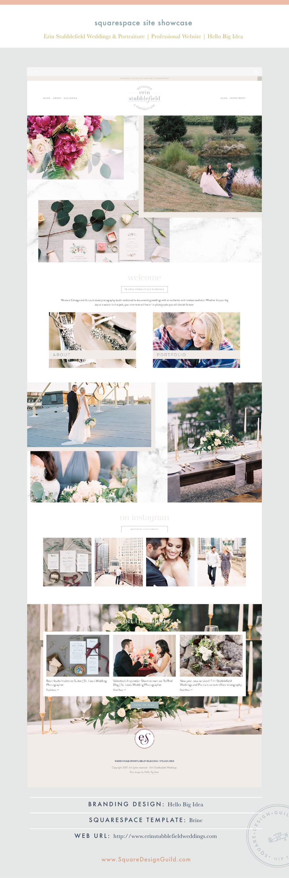 Square Design Guild | Squarespace Site Showcase: Erin Stubblefield Weddings | Professional Website on Brine