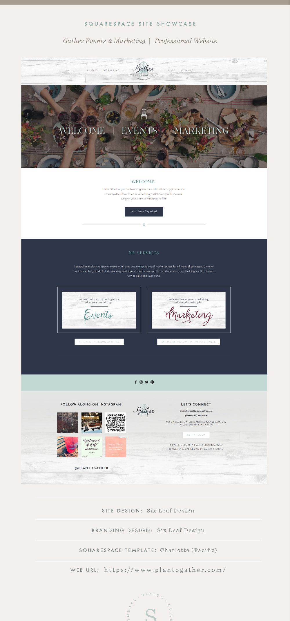 Squarespace Site Showcase | Gather Events & Marketing| Pacific Template | Six Leaf Design