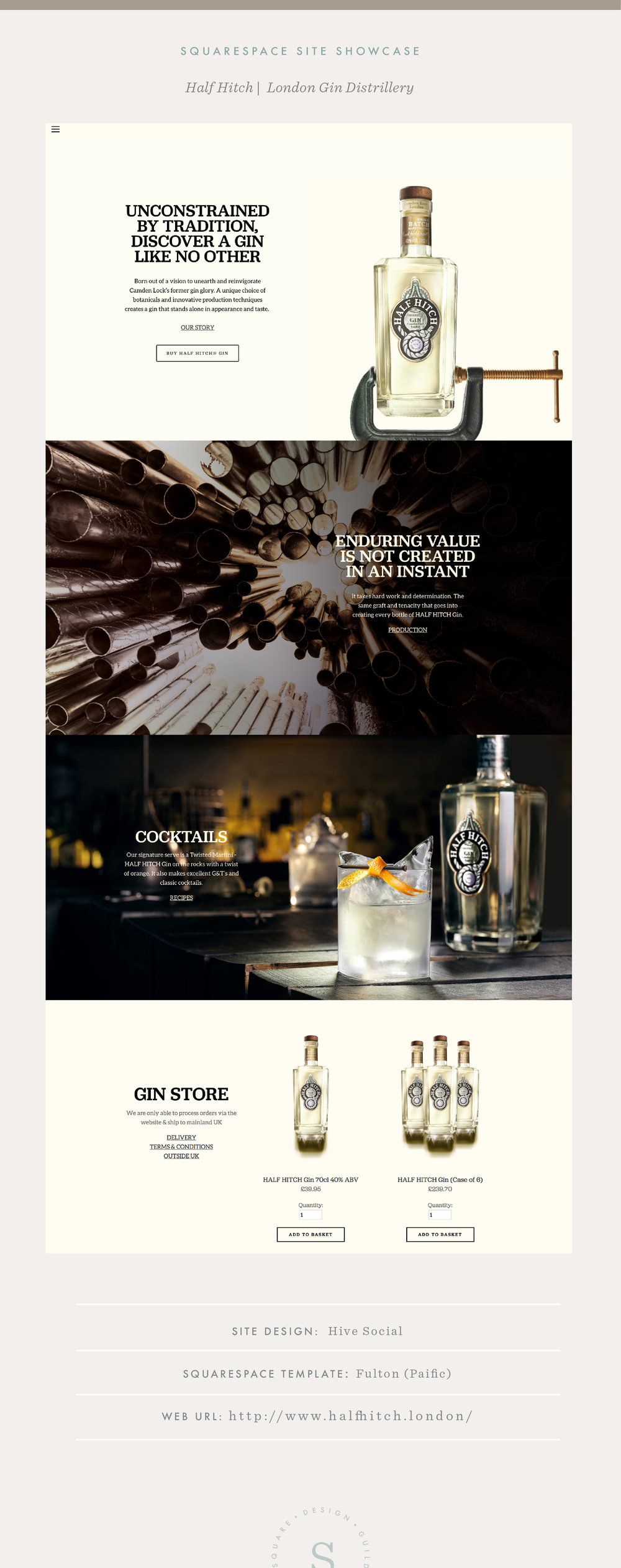 Squarespace Site Showcase | Half Hitch Gin Distillery by Hive Social | Fulton Template