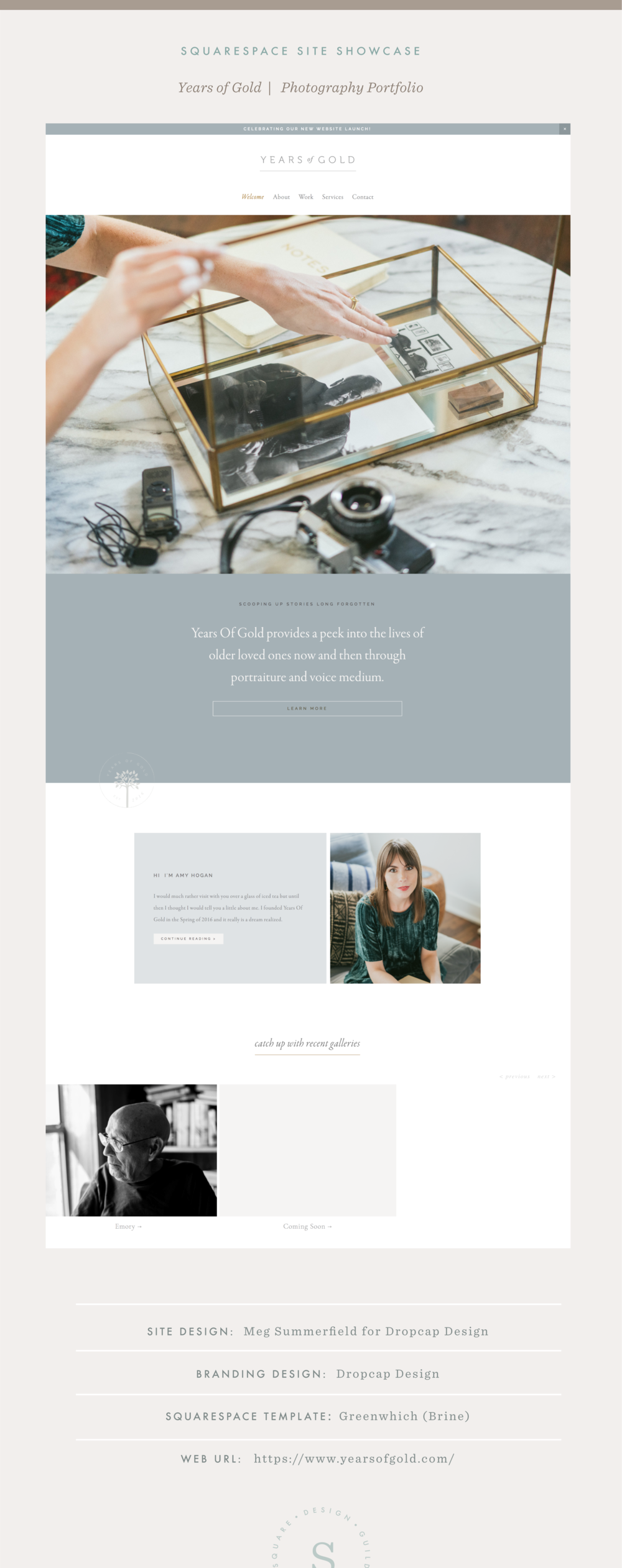 Site Showcase | Years of Gold | Texas Photographer Website on Squarespace Brine Template