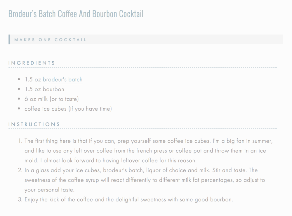 Recipe Formatting for Squarespace