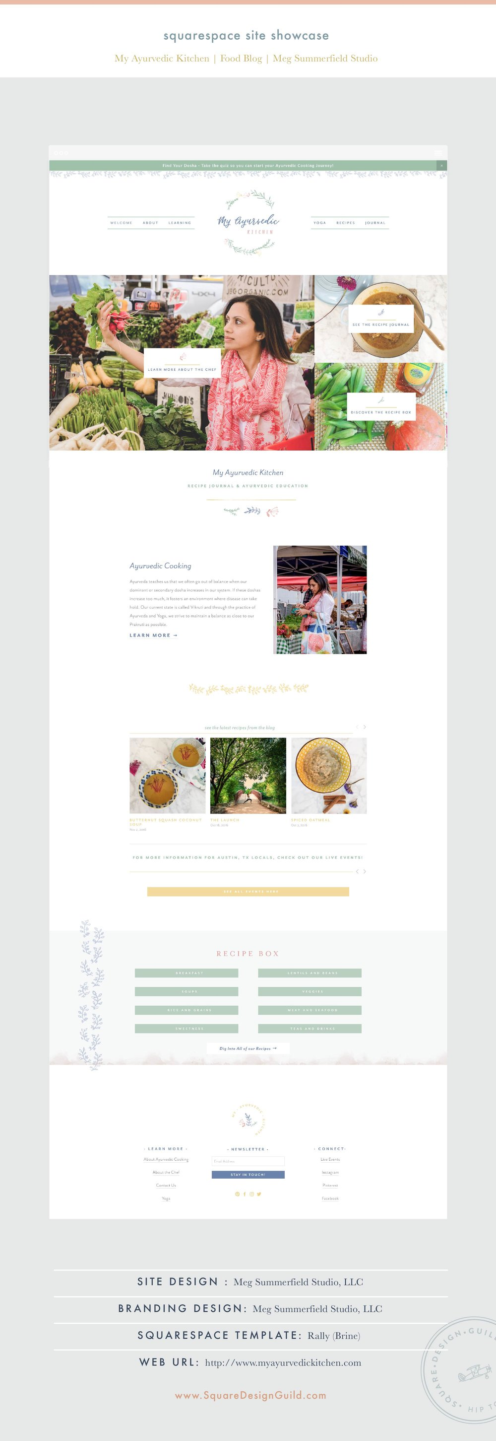 Squarespace Site Showcase | My Ayurvedic Kitchen | Brine Template