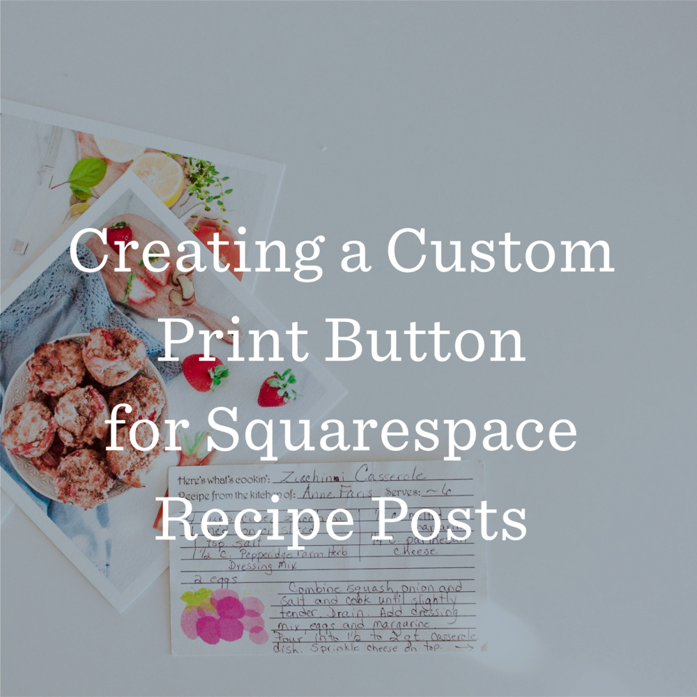 Printing Recipes in Squarespace Plugin