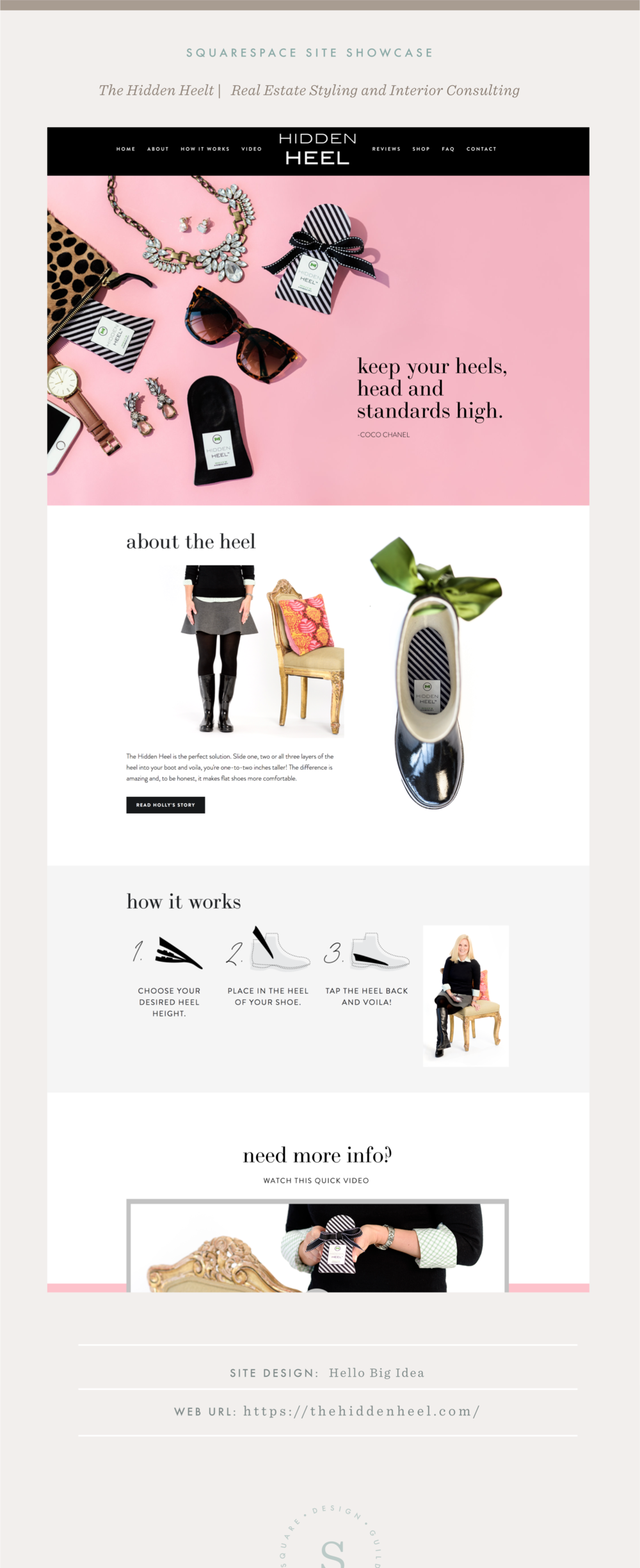 Squarespace Site Showcase | Hello Big Idea | The Hidden Heel | Pacific Template