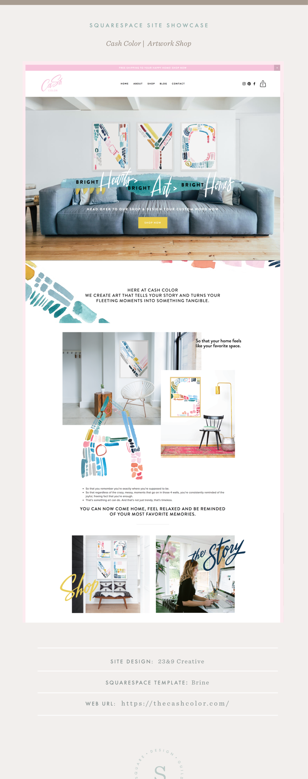 Squarespace Site Showcase | Cash Color | Brine Template
