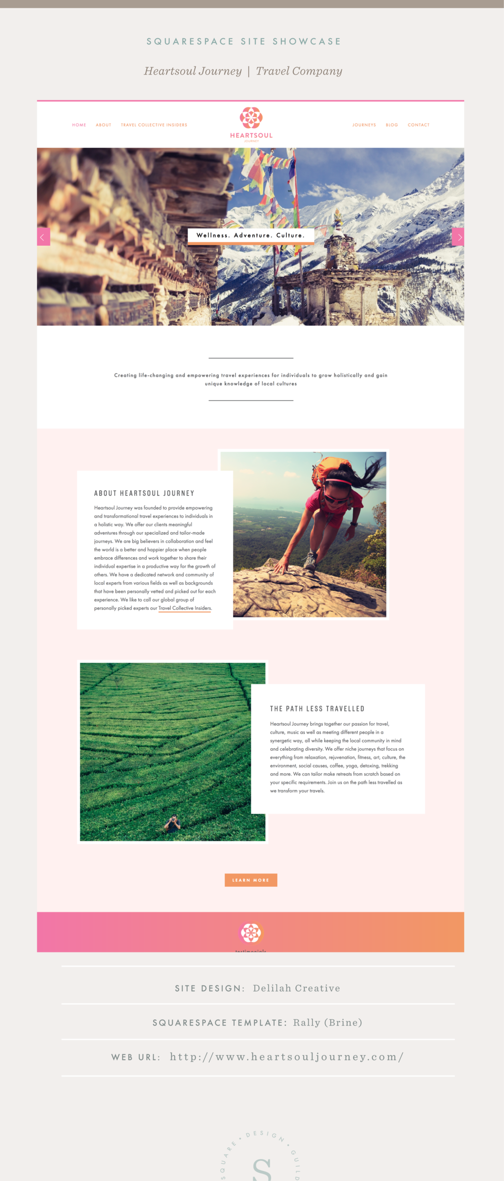 Squarespace Site Showcase | brine template | Heartsoul Journey