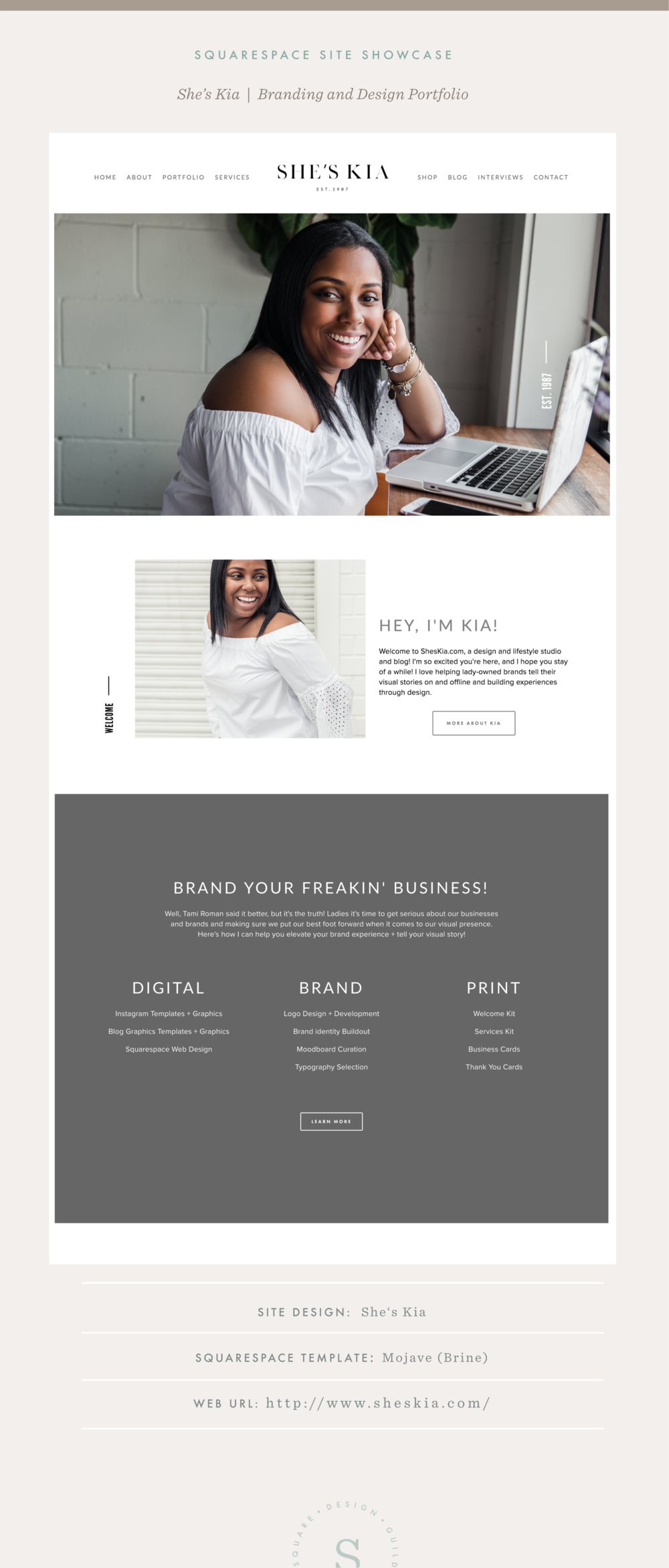 Squarespace Site Showcase | She's Kia | Brine Template