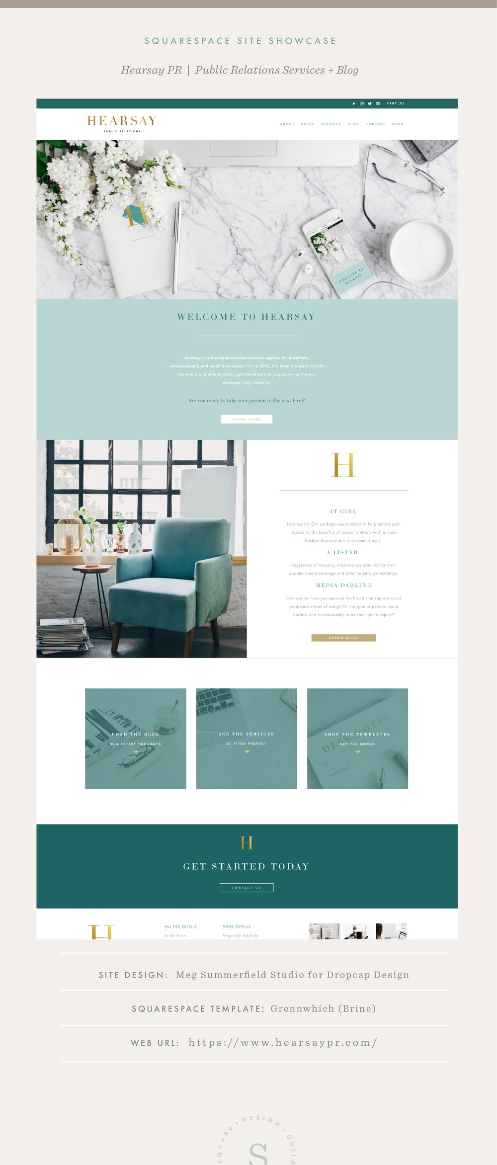 Squarespace Site Showcase Hearsay PR on the Brine Template - Blog and Public Relations Website