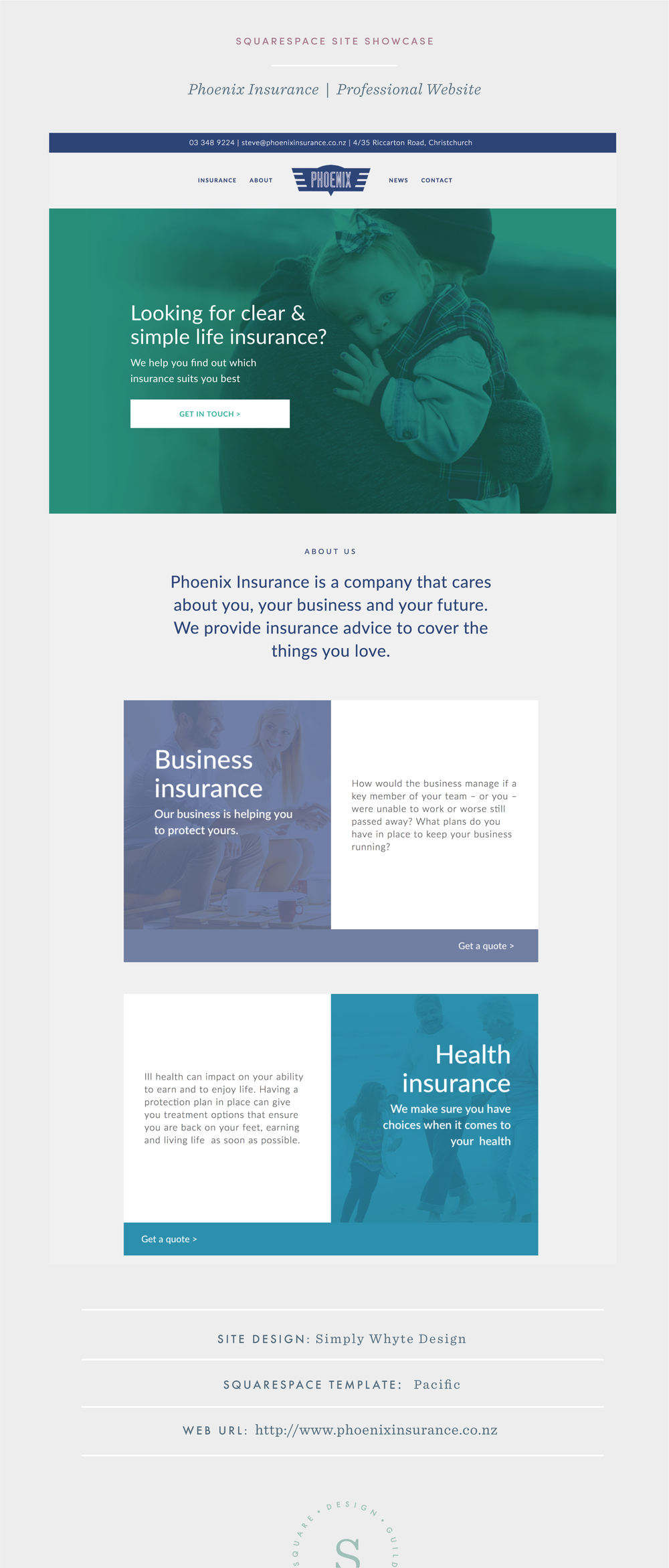 Squarespace website for insurance company