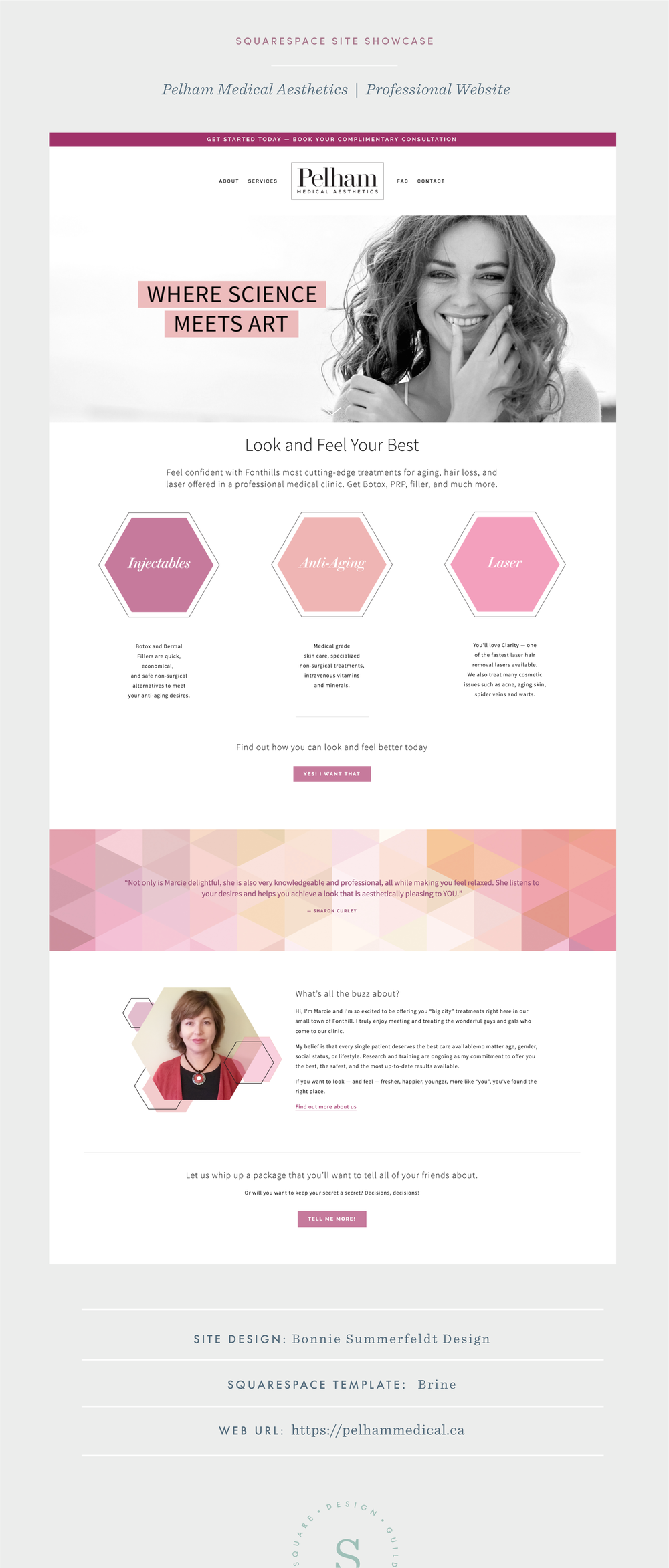 Light and bright services website for Squarespace on Brine Template