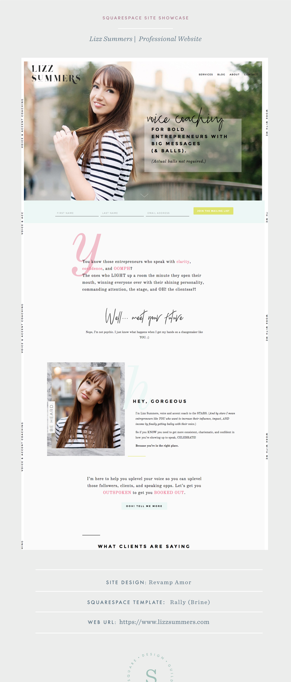 Editorial Style Coaching Website for Squarespace on Brine Template