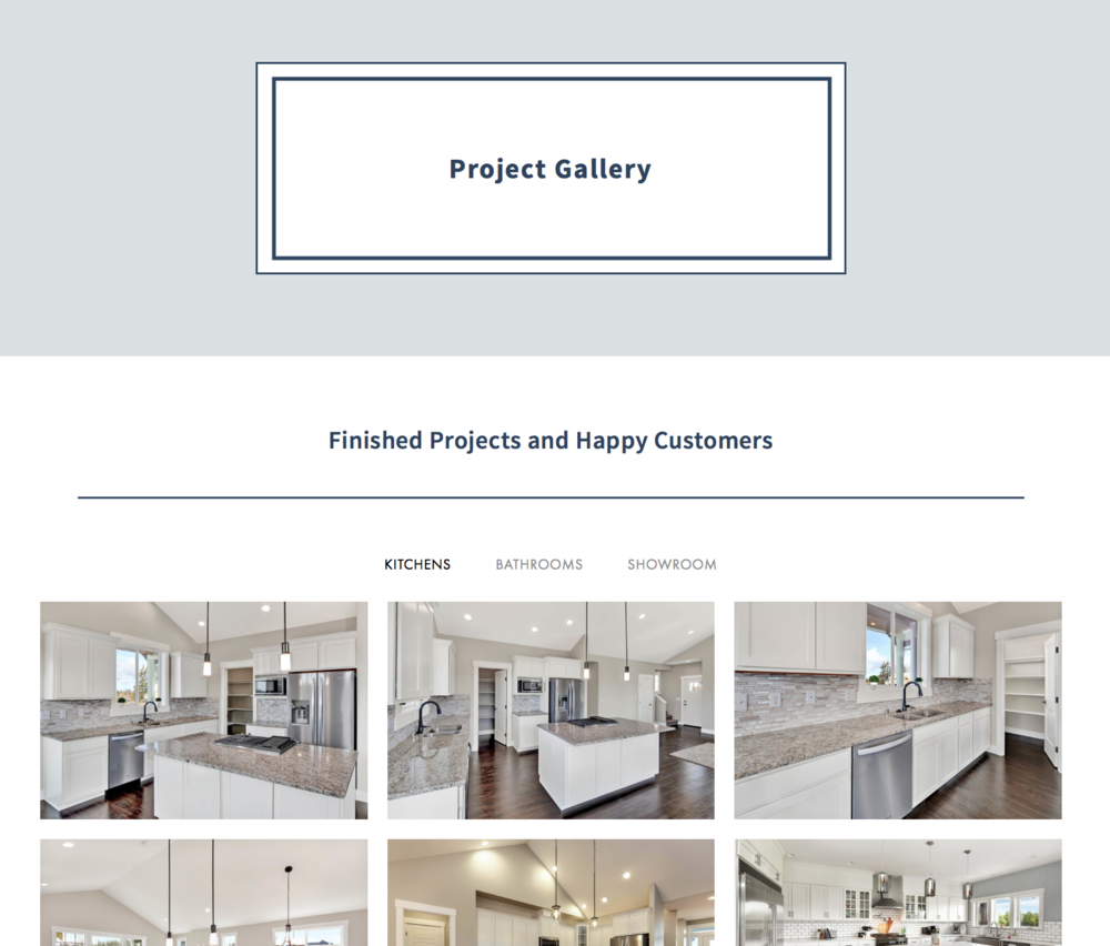 Creative Stoneworks - This example is PERFECT for those who want to have categorized galleries for portfolios etc. You can create a simple, and minimal tab (almost not there!) to organize galleries and not be stuck with a boring gallery page.www.creativestoneworksnw.com(site designed by NJS Design Company)