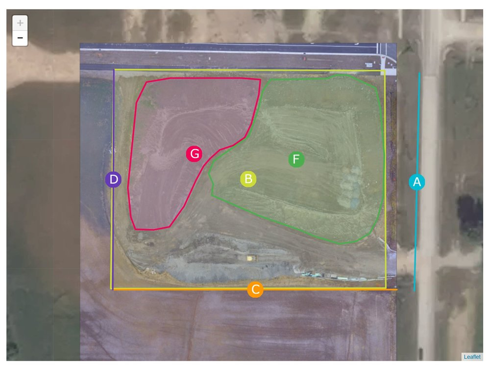 Measurement Data including Length, Cut/Fill, Slope, Square Footage, and Volume from aerial data captured!