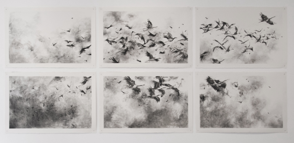 Wild Men Who Caught and Sang the Sun in Flight  Charcoal and carbon on paper (in six parts)  312cm x 138cm  2014