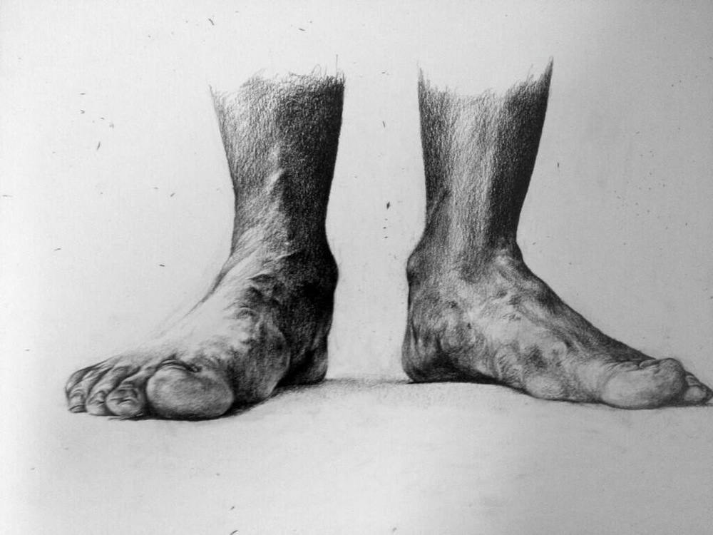 Mum's Feet, Grounded Pencil on paper 40cm x 30cm 2014