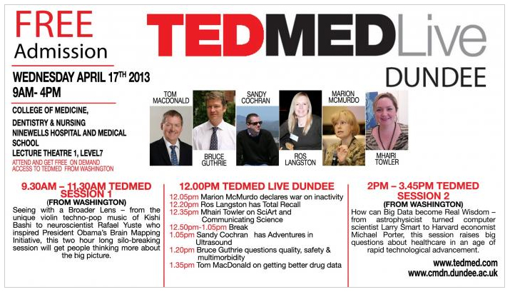 Invited to speak at TEDMED Live at Ninewells Hospital in Dundee - Apr 2013.