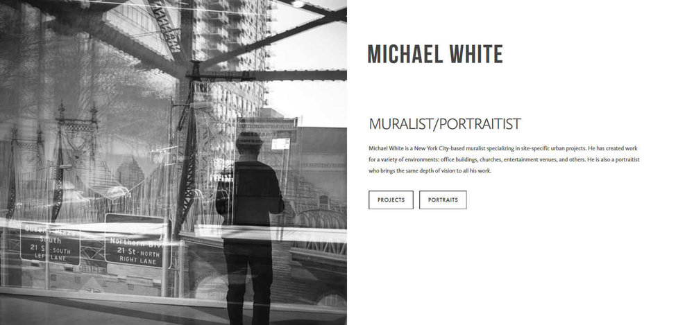 Michael White Studio Squarespace cover page | Artist Website | Marksmen Studio Brooklyn