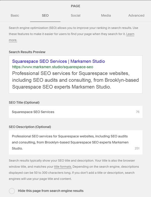The new Squarespace SEO tab. Click to expand.