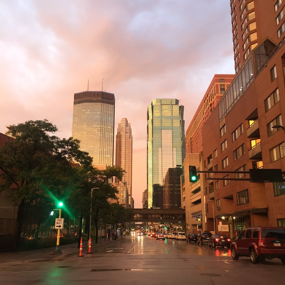 A particularly golden afternoon after work in downtown Minneapolis