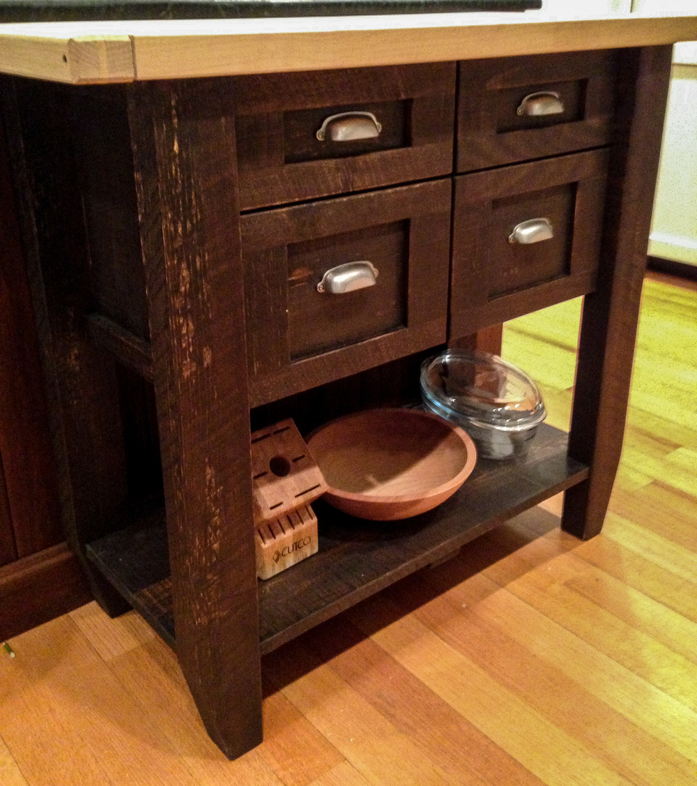Accessory Server with Butcher Block Top